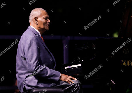 Stock Picture of Legendary pianist McCoy Tyner performs at the botanical Garden Citta' Studi, in Milan, Italy
