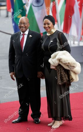South Africa's President Jacob Zuma, left, and his wife Thobeka Madiba Zuma arrive for a concert on the first day of the G-20 summit in Hamburg, northern Germany, . The leaders of the group of 20 meet July 7 and 8