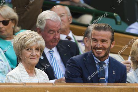 David Beckham and his mother Sandra Beckham, in the Royal Box