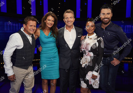 Mike Bushell, Annabel Croft, host Bradley Walsh, Rhea Bailey and Rylan Clark