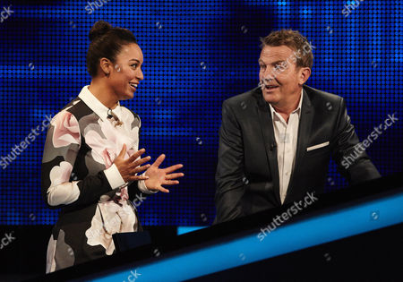 Stock Picture of Rhea Bailey and host Bradley Walsh face the Chaser