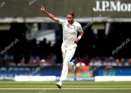 Stuart Broad of England celebrates taking the wicket of Heinz Georg Kramm Kuhn of South Africa