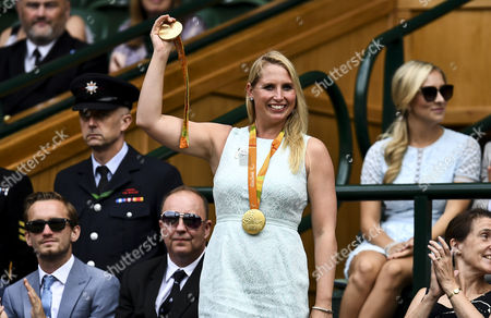 Paralympic swimmer Stephanie Millward displays her medals in the royal box on centre court