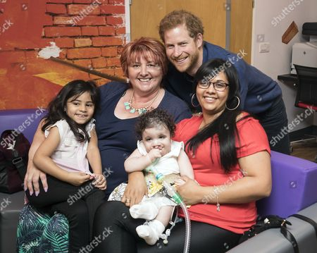 Prince Harry meets Mareyah Joseph-Webster (centre), her mother Sonya Joseph, sister Tayah-Mai Webster and grandmother Patricia Smith during a visit to Leeds Children's Hospital, on the second day of his two-day visit to the city
