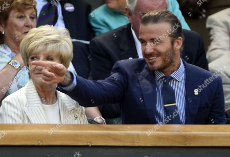 Former England footballer David Beckham and his mother Sandra Beckham in the Royal Box on Centre Court during the Wimbledon Championships at the All England Lawn Tennis Club, in London, Britain, 07 July 2017.