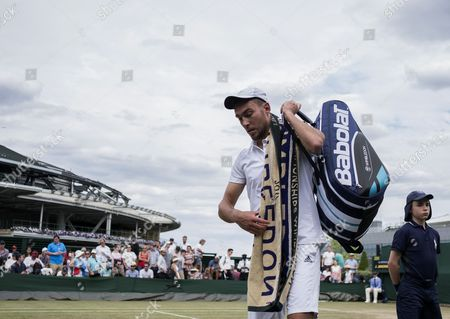 Jerzy Janowicz of Poland reacts after losing against Benoit Paire of France during their third round match for the Wimbledon Championships at the All England Lawn Tennis Club, in London, Britain, 07 July 2017.