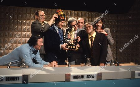 Les Dawson, Jack Douglas and Michael Aspel, with Barry Cryer, Lennie Bennett and John Junkin