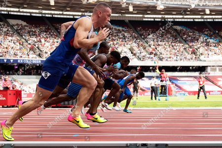 Richard Kilty (GBR) in the foreground in the Mens 100m final