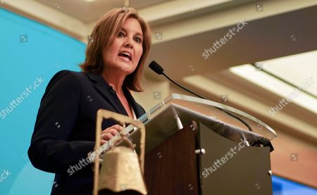 Ohio Lt. Gov. Mary Taylor speaks before a gathering of Republicans at the City Club of Cleveland in Cleveland, . Taylor announced her entry into Ohio's crowded 2018 gubernatorial race Friday, with the promised backing of GOP Gov. John Kasich