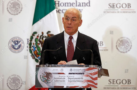U.S. Homeland Security Secretary John Kelly speaks during a joint statement with Mexico's Interior Secretary Miguel Angel Osorio Chong, not seen, in Mexico City . Kelly arrived to Mexico on Wednesday and met with President Enrique Pena Nieto before the Mexican leader departed for France ahead of the Group of 20 summit in Germany. Late Thursday Kelly accompanied military leaders to the southern state of Guerrero, one of the country's primary opium-producing states
