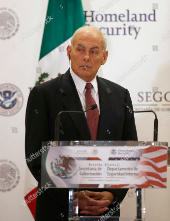 U.S. Homeland Security Secretary John Kelly attends a joint statement with Mexico's Interior Secretary Miguel Angel Osorio Chong, not seen, in Mexico City . Kelly arrived to Mexico on Wednesday and met with President Enrique Pena Nieto before the Mexican leader departed for France ahead of the Group of 20 summit in Germany. Late Thursday Kelly accompanied military leaders to the southern state of Guerrero, one of the country's primary opium-producing states