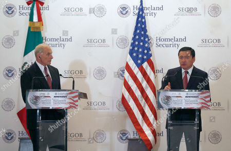 U.S. Homeland Security Secretary John Kelly, left, looks at Mexico's Interior Secretary Miguel Angel Osorio Chong as he gives a statement to the press after Kelly's visit in Mexico City . Kelly arrived to Mexico on Wednesday and met with President Enrique Pena Nieto before the Mexican leader departed for France ahead of the Group of 20 summit in Germany. Late Thursday Kelly accompanied military leaders to the southern state of Guerrero, one of the country's primary opium-producing states