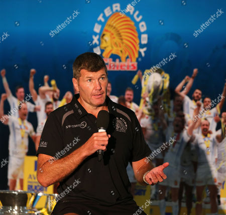 Exeter Chiefs, Head Coach, Rob Baxter being interviewed by Mark Stevens during the Exeter Chiefs' Premiership Rugby fixtures for the 2017/18 season Fixtures Brunch at Sandy Park on July 7th , Exeter, Devon.