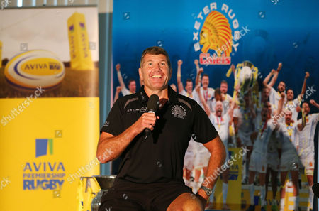 Stock Picture of Exeter Chiefs, Head Coach, Rob Baxter being interviewed by Mark Stevens during the Exeter Chiefs' Premiership Rugby fixtures for the 2017/18 season Fixtures Brunch at Sandy Park on July 7th , Exeter, Devon.