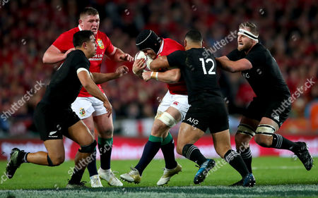 New Zealand All Blacks vs British & Irish Lions. All Blacks's Anton Lienert-Brown, Ngani Laumape and Kieran Read tackle Sean O?Brien of the Lions