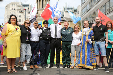 Saadiya Khan, Sadiq Khan, Mayor of London, Justine Greening - Secretary of State for Education, and Minister for Women and Equalities attend the annual Pride London Parade. Over 26,000 people take part in one of the world's biggest LGBT + celebrations.