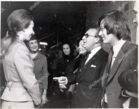 Princess Anne (now Princess Royal). 1971. Picture Shows Princess Anne Shares A Joke With Comedian Charlie Chester And Disc Jockey Tony Blackburn When She Met Him At An Art Exhibition In Aid Of Save The Children Fund At New Zealand House Today. Charlie Chester Was One Of The Exhibitors.