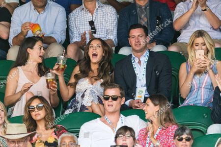 Vicky Pattison, John Noble and Stacey Solomon watch center court tennis on the sixth of the Wimbledon Lawn Tennis Championships.