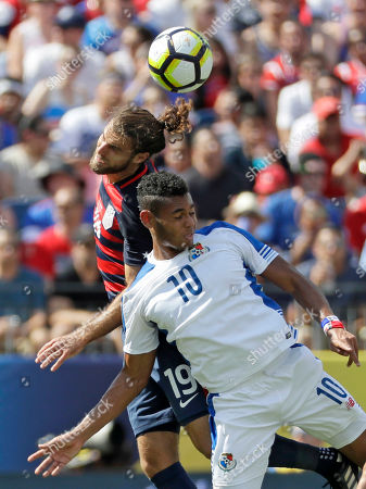 Graham Zusi, Ismael Diaz United States' Graham Zusi (19) and Panam's Ismael Diaz (10) go up for a header during a CONCACAF Gold Cup soccer match, in Nashville, Tenn
