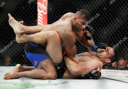 Alistair Overeem, left, fights Fabricio Werdum in a heavyweight mixed martial arts bout at UFC 213, in Las Vegas