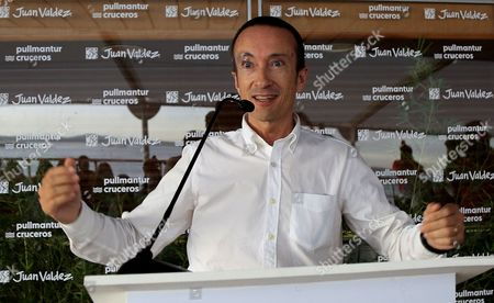 Stock Picture of Vice President of commercial for Pullmantur Cruises, Jose Blanco speaks during the launch of an alliance between Spanish shipping company Pullmantur and Colombian coffee brand Juan Valdez in Cartagena, Colombia, 08 July 2017. The alliance will allow the passengers of all the Pullmantur cruise routes in the world to enjoy the experience of taking a 100 percent Colombian premium coffee.