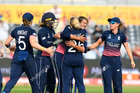 Stock Image of England win - Jenny Gunn of England celebrates the win with Katherine Brunt of England after Australia failed to hit a six off the last ball during the ICC Women's World Cup match between England and Australia at the Bristol County Ground, Bristol