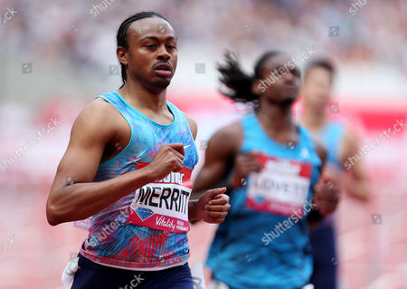 Aries Merritt of USA after winning the 110m hurdles race.