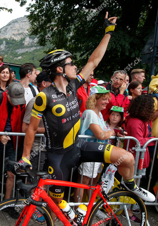 France's Sylvain Chavanel gestures as he waits to take the start of the ninth stage of the Tour de France cycling race over 181.5 kilometers (112.8 miles) with start in Nantua and finish in Chambery, France