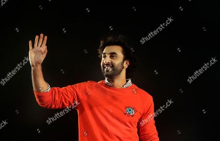 "Bollywood actor Ranbir Kapoor waves as he arrives to promote his upcoming movie ""Jagga Jasoos"" in Mumbai, India, . The movie is scheduled to be released on July 14"