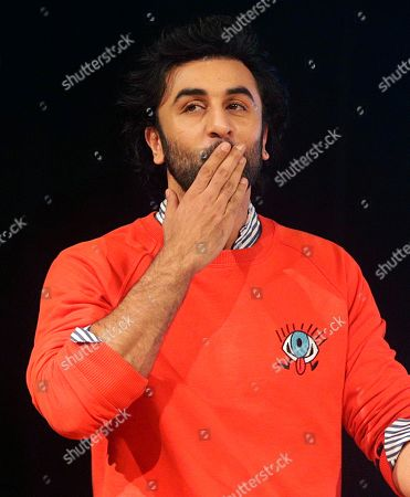 "Bollywood actor Ranbir Kapoor gestures as he arrives to promote his upcoming movie ""Jagga Jasoos"" in Mumbai, India, . The movie is scheduled to be released on July 14"