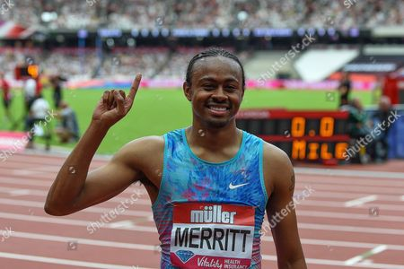 Aries Merritt of the United States of America wins the Men's 110m Hurdles Final during the Muller Anniversary Games at the London Stadium, London