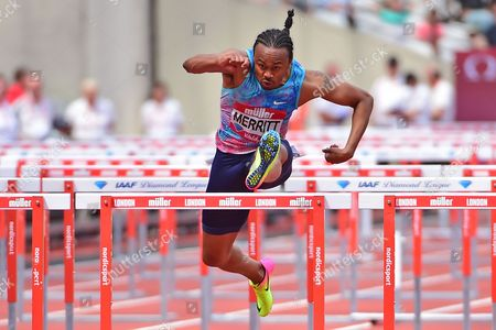 Aries Merritt (USA) wins the 110m Hurdles during the Muller Anniversary Games at the London Stadium, London