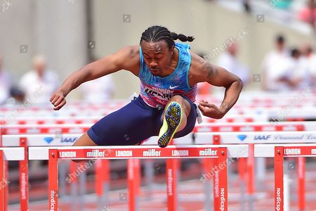 Aries Merritt (USA) wins the Mens 110m Hurdles finals during the Muller Anniversary Games at the London Stadium, London