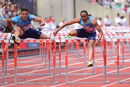 Devon Allen (USA) and Aries Merritt (USA in the Mens 110m Hurdles Finals during the Muller Anniversary Games at the London Stadium, London