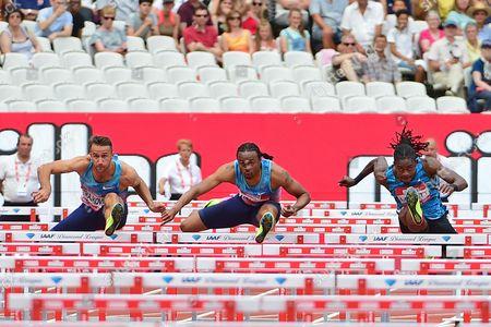 Aries Merritt (USA) races Milan Trajkovic (CYP) and Eddie Lovett (ISV) in the 110m Hurdles Men Final during the Muller Anniversary Games at the London Stadium, London