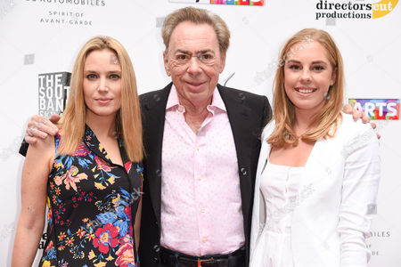 Stock Picture of Sir Andrew Lloyd Webber and daughters Imogen Lloyd Webber and Isabella Lloyd Webber