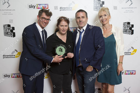 Sally Wainwright (2L) with TV Drama award for 'Happy Valley'