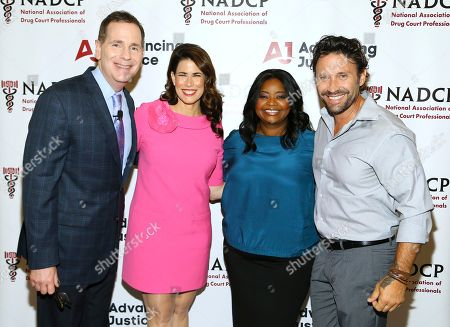 Melissa Fitzgerald, Octavia Spencer, Carson Fox, Travis Howard Left to right, NADCP CEO Carson Fox, Director of Advancing Justice Melissa Fitzgerald, Academy Award-winning actress Octavia Spencer, and country music singer/songwriter Travis Howard backstage at the 2017 NADCP Training Conference Opening Ceremony at the Gaylord National Resort and Convention Center on in Oxon Hill, MD