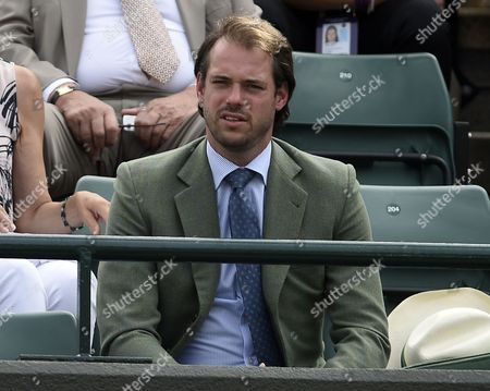 Prince Felix of Luxembourg watches Gilles Muller play Rafael Nadal of Spain in their fourth round match for the Wimbledon Championships at the All England Lawn Tennis Club, in London, Britain, 10 July 2017.