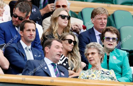 Tennis legend Billie Jean King, right, sits with Ben Ainslie, second row left, and his wife Georgie, center, in the Royal Box on day seven at the Wimbledon Tennis Championships in London . Top right is golfer South African golfer Ernie Els