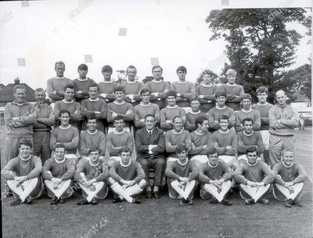 Everton Football Club Team Photograph. Back Row (left To Right): Sandy Brown Harry Bennett Andy Rankin Geoff Barnett Gordon West Rodger Kenyon Frank Thornton Terry Owen. Middle Row (left To Right): Tom Eggleston Head Trainer/coach. Gorden Watson A/trainer. Fred Prickering Frank D'arcy Derek Smith John Hurst Timmy Husband Billy Brindle Howard Kendall Alan Ball Joe Royle Arthur Proudler (coach). Middle Row - Sitting - (left To Right) Derek Temple Alex Scott John Morrissey H. Catterick Ray Wilson Colin Harvey Tom Wright Mike Trabilcok. Front Row (left To Right) Brian Labone Aiden Maher David Turner Alec Wallace Arthur Styles Gerry Glover Gerry Humphreys Alec Young.