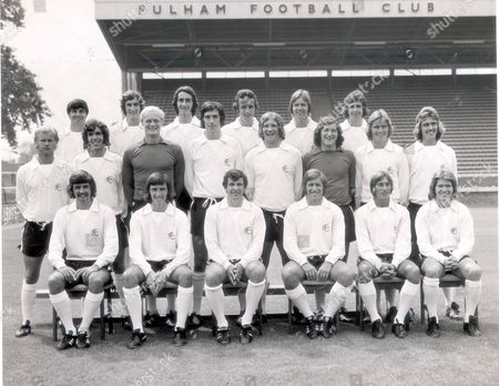 Fulham Football Club Team Photograph. Back Row (left To Right): Jim Conway John Frazer Les Strong Steve Earle Les Barrett John Conway. Middle Row (left To Right): Barry Lloyd David Moreline Peter Mellor John Lacy. Paul Went Malcolm Webster John Mitchell Viv Busby. Front Row (left To Right): Alan Slough Jimmy Dunne Alan Mullery John Callaghan John Cutbush David Carlton.