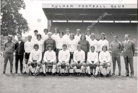 Fulham Football Club Team Photograph. Back Row (left To Right): Jim Conway John Frazer Les Strong Steven Earle Les Barrett And John Conway. Middle Row (left To Right): Barry Lloyd David Moreline Peter Mellor John Lacy Paul Went Malcolm Webster John Mitchell Viv Busby. Official Officers: John Collins Ron Woolnough Bill Taylor. Front Row (left To Right): Alan Slough Jimmy Dunne Alan Mullery John Callaghan John Cutbush David Carlton.
