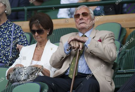 Golf Legend Peter Alliss with his wife Jackie in the Royal Box on Centre Court, Wimbledon Championships 2017, Day 7, All England Lawn Tennis & Croquet Club, Church Rd, London, United Kingdom - 10th July 2017