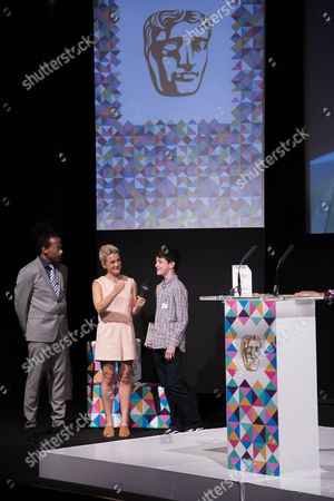 Stock Photo of Dev Griffin & Georgie Barrat with Spruce Campbell (winner of the Game Making 10-14 years award)