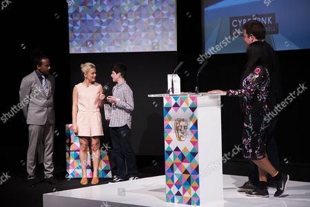 Dev Griffin & Georgie Barrat with Spruce Campbell (winner of the Game Making 10-14 years award)