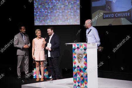Dev Griffin, Georgie Barrat with Dave Chilvern (winner of the Mentor Award) & Nick Button-Brown (Chair of the Games Committee, BAFTA)