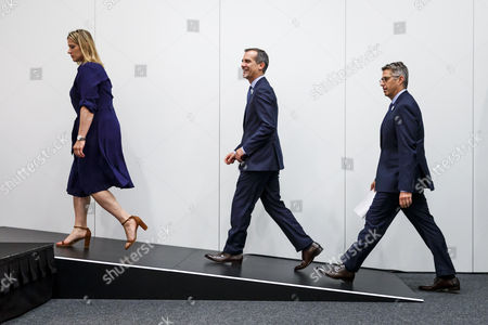 (L-R) US IOC Member and Chair of the International Olympic Committee Angela Ruggiero, Mayor of Los Angeles Eric Garcetti, and chairman of the Los Angeles 2024 Casey Wasserman arrive for a press conference after the presentation of Los Angeles 2024 Candidate City Briefing for International Olympic Committee (IOC) Members, at the SwissTech Convention Centre, in Lausanne, Switzerland, 11 July 2017.