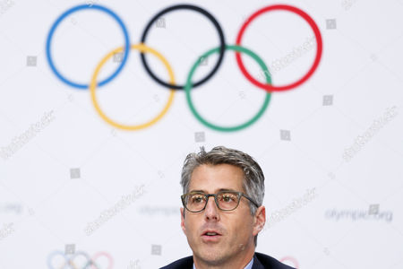 Casey Wasserman chairman of Los Angeles 2024, answers questions during a press conference after the presentation of Los Angeles 2024 Candidate City Briefing for International Olympic Committee (IOC) Members, at the SwissTech Convention Centre, in Lausanne, Switzerland, 11 July 2017.
