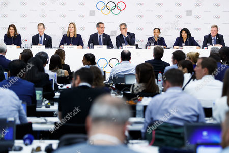 (L-R) Los Angeles 2024 Olympic bid Vice Chair and Olympic champion Janet Evans, Los Angeles 2024 CEO Gene Sykes, Head of the International Olympic Committee (IOC) athlete's commission Angela Ruggiero, Los Angeles Mayor Eric Garcetti, LA 2024 chairman Casey Wasserman, US Olympic track and field athlete Allyson Felix, IOC Vice-President Anita De Frantz and chief executive officer of the United States Olympic Committee Scott Blackmun attend a press conference after the presentation of Los Angeles 2024 Candidate City Briefing for International Olympic Committee (IOC) Members, at the SwissTech Convention Centre, in Lausanne, Switzerland, 11 July 2017.